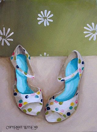 """DOTTIE'S HEELS"",  Dottie was one of those girls who always got noticed. Perhaps it was because of her signature style......Dottie was absolutely dotty over...well...DOTS!!!   Dot Heels painting shoes original ooak fashion art by 4WitsEnd, via Etsy"