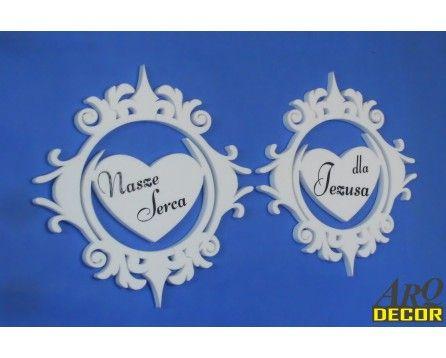Dekoracja Na Pierwszą Komunię - Dwa Duże Serca W Ramce Z Napisem - ARQ - DECOR | Pracowania Dekoracji ARQ DECOR