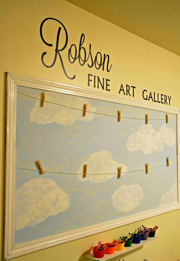 I like this for a hallway or landing wall to display children's art!! It beats it being stuck to the fridge and I just think its so cute!!