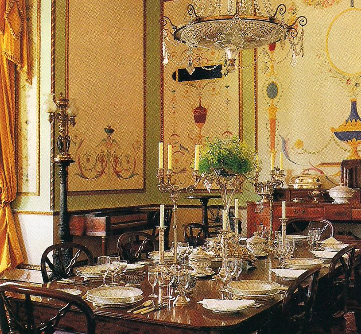 Alec Cobbe, a painter-designer-musician lives at Hatchlands Park, a National Trust property in Surrey, England. The Dining Room as seen in March 1996 issue of AD - The Devoted Classicist