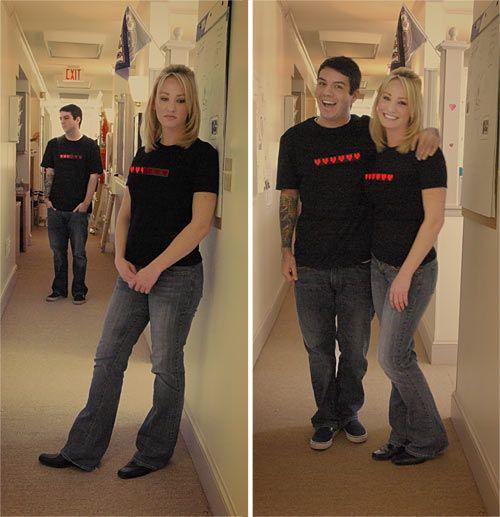 cute t-shirts! they light up but when you are far apart from your loved one the hearts start to fade out and empty then when you get close they hearts fill up!!! totally want these!!!