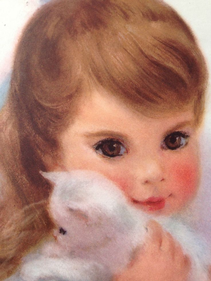1950's Northern Tissue Print Ad  Girl Holding White Fluffy Kitten  Illustrated by Frances Hook