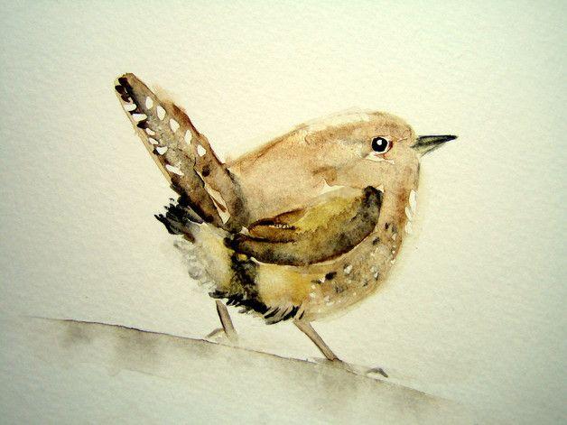 Meine kleinen Vögel sind ständige Besucher in meinem Garten. Der kleine Zaunkönig hat sogar sein Nest in meiner Hecke. Es sind Originale, mit hochwertigen Aquarellfarben auf 300 g/m²mg weißem...