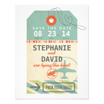Pack your bags and get ready to fly! A sweet and simple save the date for any destination wedding. Shown in sea glass inspired shades of sage green and light aqua with a pop of vibrant red-orange. Customize with your names, location and wedding date. #luggage #tag #destination #wedding #travel #vintage #airline #airplane #tropical #airmail