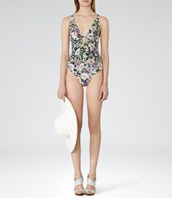 Womens Black Plunge-front Swimsuit - Reiss Harlot Print