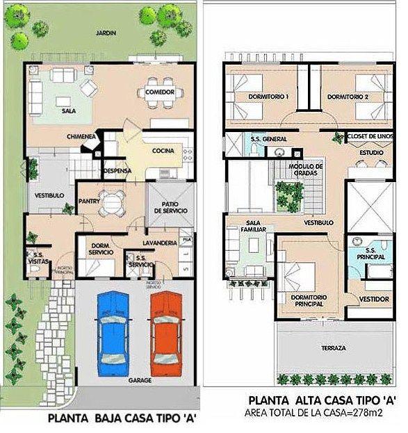 Plano de duplex moderno grande planos de casa - Planos de casas grandes ...