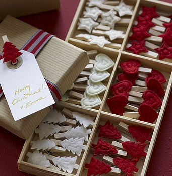 Christmas pegs for hanging cards or for wrapping presents, etc. CLEVER.