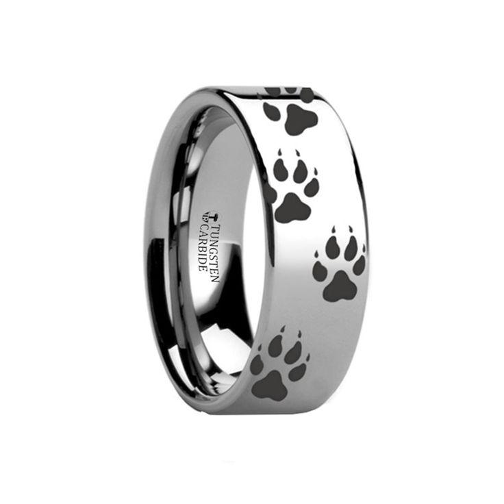 $210 Animal Track Wolf Print Tungsten Ring www.ringsparadise.com