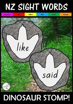 A fun NZ sight word resource for the Magenta to Orange levels of the colour wheel.2 sets provided:   coloured (footprint on rock, like a fossil)  black and white4 footprints per A4 size page.Blank templates also provided (for additional words if necessary).The font used is NZ Basic Script.