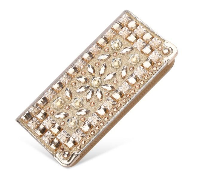 New Women Chic Shiny Leather Gold Diamond Hand Evening Bag Purse Ladies Clutch #Unbranded #Clutch