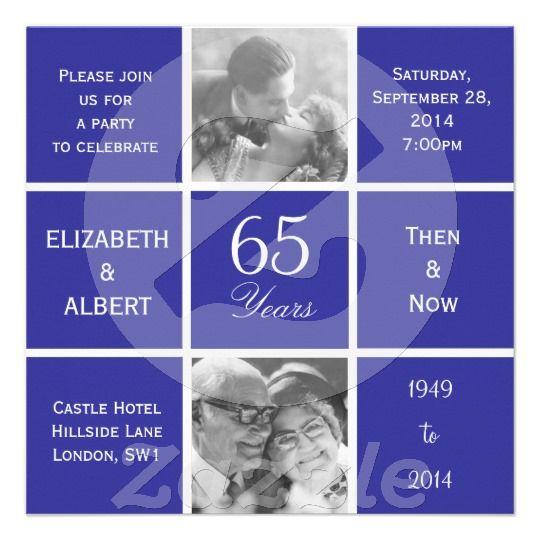 Modern Squares 65th Sapphire Wedding Anniversary Custom Announcements