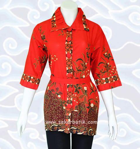 blus batik wanita modern merah di katalog http://sekarbatik.com/blus-batik/ toko sekarbatik online