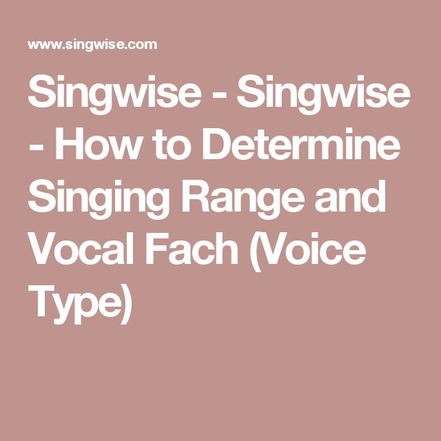 Singwise - Singwise - How to Determine Singing Range and Vocal Fach (Voice Type)