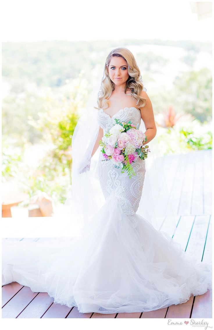 Paxton Winery Wedding Amazing Stephen Khalil Wedding Gown Couture Bridal Gown Full length lace Veil Styling by Emkho Amazing Florals by Sam Burnell Floral Design Wedding Photography by Emma Sharkey Winery Wedding Paxton Winery Inspiration