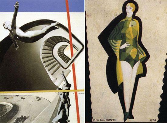 'movimento e spazio' by vinicio paladini, 1928 r: 'bozzetto di vestito da bagno da donna' by marlo dal monte, 1928