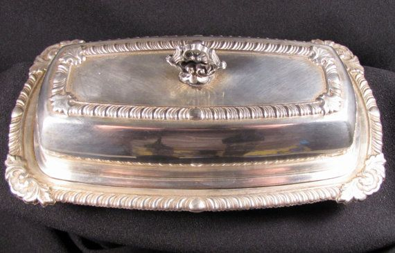 Silver Plate Butter Dish with Liner Vintage by KLBVintageWares