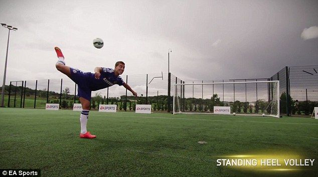 Chelsea midfielder Eden Hazard manages a standing heel volley in a skills video for FIFA 1...