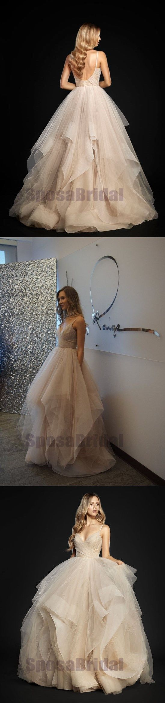 Charming Long Spaghetti Straps Tulle Simple Popular Fashion Prom Dresses, Prom Gowns For party,, PD0582