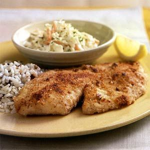 Pecan-Crusted Tilapia | MyRecipes.com - Just fixed tonight for a Lenten dinner - YUMMMMMMYYYYY!!!! This recipe is definitely a keeper. Rather than using the buttermilk (because I forgot to get it at the store) I used regular milk along with a beaten egg and a bit of Dijon mustard. I served it with a wild rice pilaf and green beans.