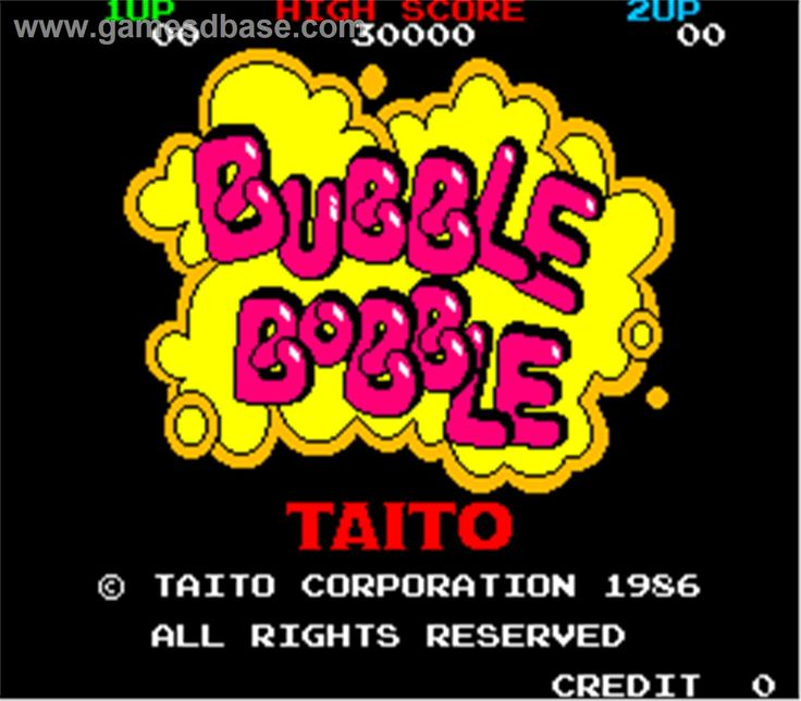 Title screen of Bubble Bobble on the Arcade.