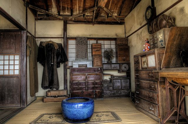 photograph of an old traditional japanese house interior on shodo