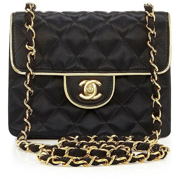What Goes Around Comes Around Chanel Black Satin Mini with Gold (20.510 VEF) ❤ liked on Polyvore featuring bags, handbags, shoulder bags, bolsa, chanel, purses, chain shoulder bag, black quilted shoulder bag, chanel purses y chanel handbags