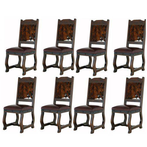 Amazon.com - Eight Gran Hacienda Hide Dining Chairs Solid Wood Lodge Shabby Chic - Chairs