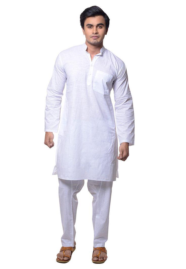 White Cotton Readymade Kurta Pajama: MNL26
