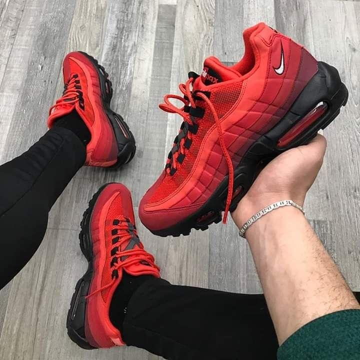 NIKE AIR MAX 95 PLUS 'RED BLACK'   Red nike shoes, Mens nike shoes ...