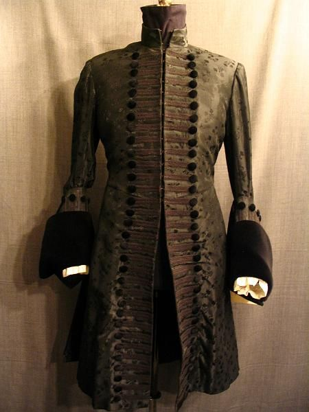 09003055 Coat Mens 17th Century black floral silk velvet C36.JPG