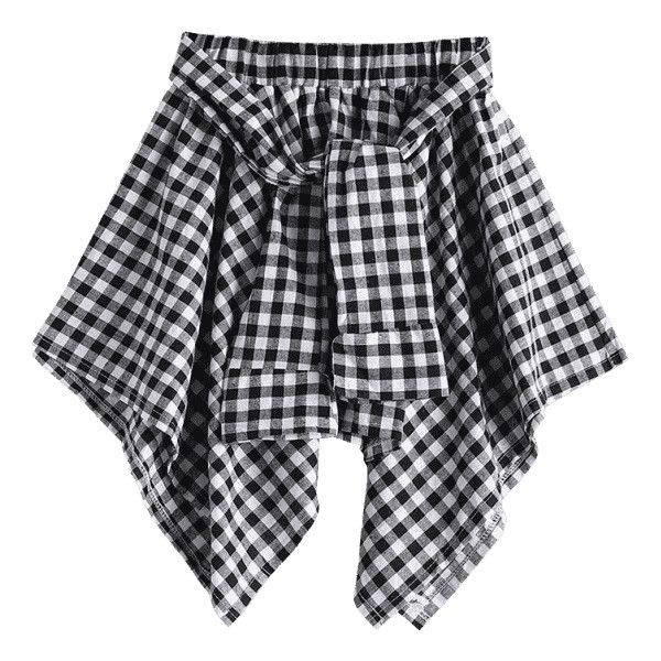 Self Tie Asymmetric Checked Skirt Black ($17) ❤ liked on Polyvore featuring skirts, checkered skirt, checked skirt, asymmetrical skirt and checkerboard skirt