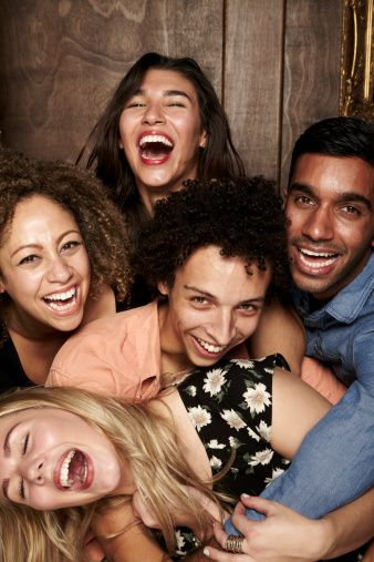 Stock Photo : Group of friends having fun