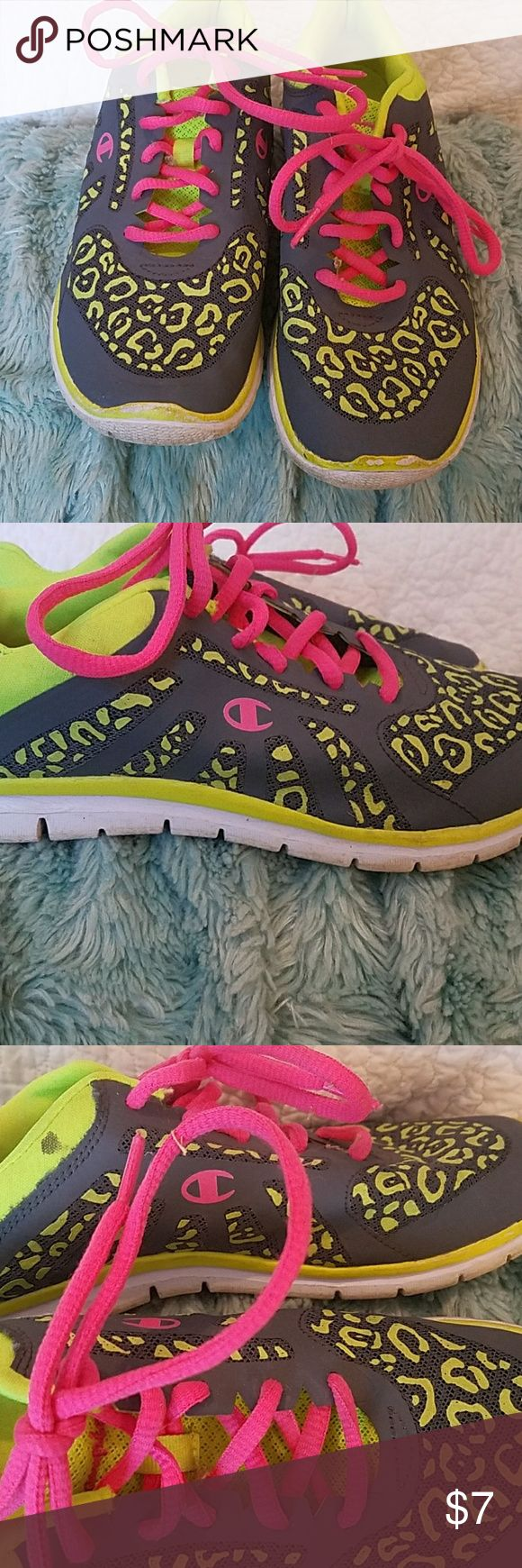 Super bright Champion shoes still great condition! Super bright Champion shoes still great condition! Just a little cleaning not much.  Lite weight and breathable shoes.  Says 4.5 but fits like a 5. Champion Shoes