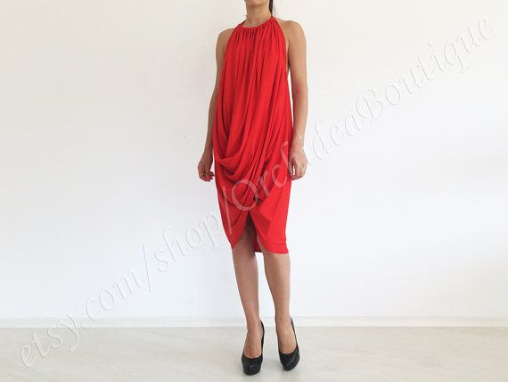 ATHENA red tunic dress multi way oversized by orchideaboutique, $65.00