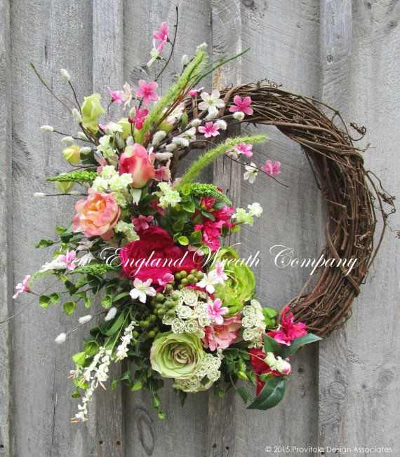 Spring Wreath, Easter Wreath, Floral Wreath, Designer Floral, Victorian Garden, Country French Wreath, Elegant Floral, Cottage Wreath  Duxbury Victorian Garden Wreath. Lush and exquisitely detailed, a stunning collection of Peonies, Roses, and Dogwood branches in a combination of muted and vibrant hues of pink, fuchsia, coral, spring green and ivory, mingle with berries, Pussy Willows and meadow grass, set on a rustic grapevine frame. Beautiful to display during the spring and summer months…