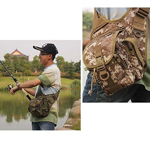 GigaMaxTM Outdoor Sports Multifunction Lure Bag Fishing Rod Tackle Bag Waist Pack Camping Hiking Moutaineering Army green *** You can get more details by clicking on the image.