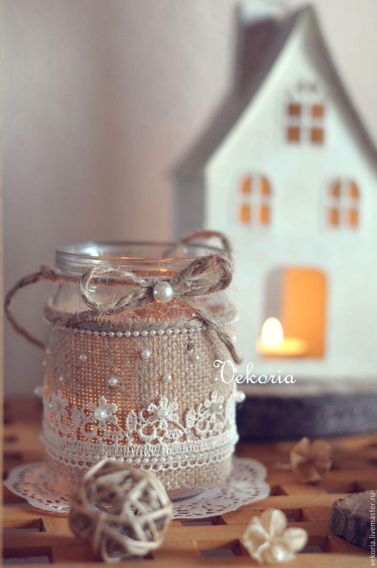 """Подсвечник """"Нежные цветочки"""" - бежевый, белый, молочный, рустик, рустикальный стиль, рустикальная свадьба"""