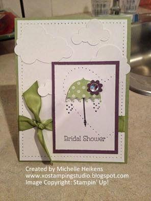 Happy Shower Day!!! - Stampin' Up! - SU! - bridal shower card - Rain or Shine - piercing - www.xostampingstudio.blogspot.com - Michelle Heikens