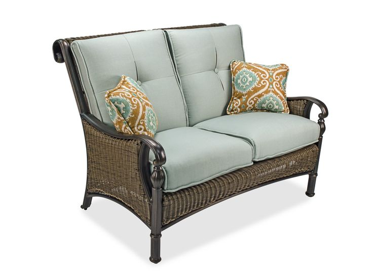 Barcelona alumimum woven resin wicker loveseat chair for King chair outdoor furniture