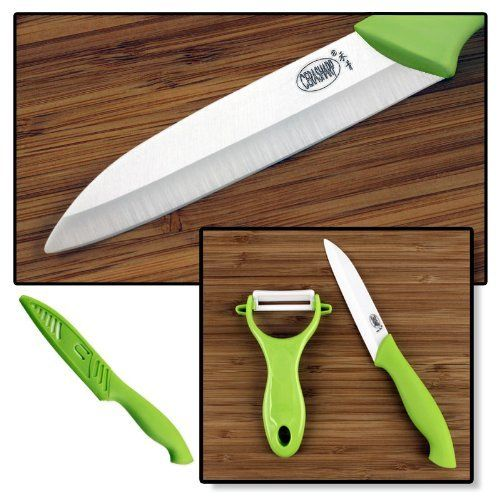 "CERASHARP 4"" Ceramic Paring Knife & Peeler Set - Superior Blade Strength & Cutting Performance by CERASHARP. $6.95. Ultra sharp ceramic blades keep edge for years, more-hygienic & stain resistant than steel. Premium-quality kitchen tool set to make any cook's job easier & more fun!. Lightweight with excellent balance & feel - they'll quickly become your kitchen favorites. 4""-blade paring knife has super-soft food grade TPA handle for non-slip hold even when wet. Y-shape peele..."