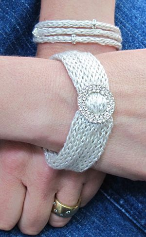 Simple knit bracelets with silk yarn and a little bling.