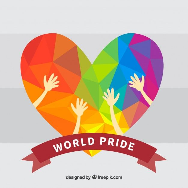 Fondo geométrico del corazón del orgullo colorido Vector libre