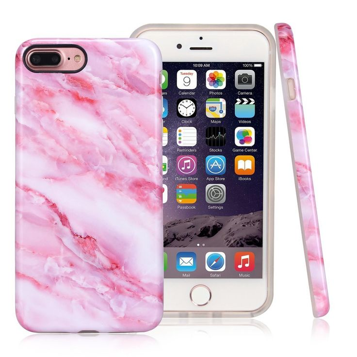 iPhone 7 Plus Case,Nasousa for Gilrs,Glossy Marble Design