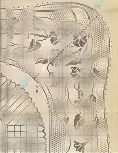 Mary Card: Convolvulus Design. Filet crochet chart(Part 1/2)