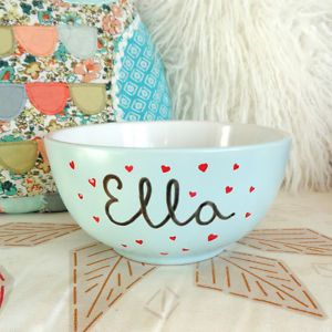 Breakfast-Cereal-Bowl-HandPainted-Personalised-Add-Name-Date-Duck-Egg-Blue-Gift