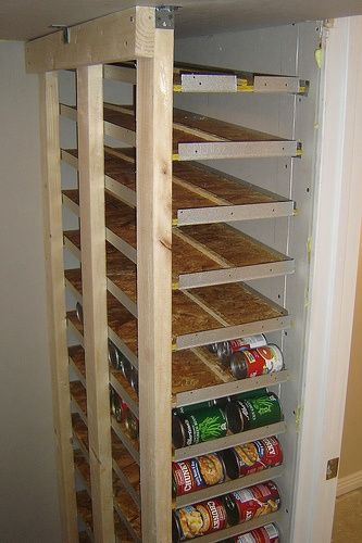 small canned food storage rotation shelf what a great idea! Maybe for in the weird cabinet over the stairs. I wonder if this can somehow be made so the shelves pull out? Probably would have to be on a much less incline and spaced a bit further apart. Not sure if would work, but a cool idea anyway.
