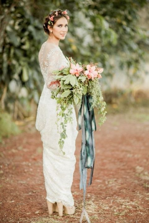 Hibiscus Pink Bridal Bouquet Tied with Watercolor Ribbons | Jose Villa | See More! http://heyweddinglady.com/southern-comfort-relaxed-and-romantic-azure-blue-wedding/