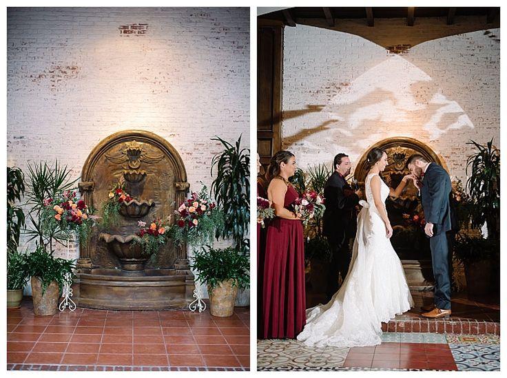 Ebell Club with draping floral decor surrounds waterfall   Brooke Bakken BlogEBell Club Wedding   Jen + Josh   Long Beach California Photography