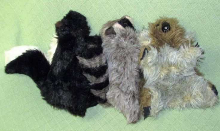HAND PUPPET Plush Animal Lot 1980 HUGGEMS Koala COUNTRY CRITTERS Skunk Raccoon #FurryHuggemsCountryCritters