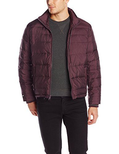 Kenneth Cole New York Men's Puffer Down Jacket, Port, Large  Channel-quilted puffer jacket with zip-front closure and side-plated welt pockets with snaps  Standing collar  Rib-knit storm cuffs